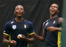 kagiso Rabada and Lungi Ngidi share a light moment at training, Pallekele, August 3, 2018