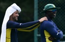Faf du Plessis and Ottis Gibson at training on a humid day, Pallekele, August 3, 2018
