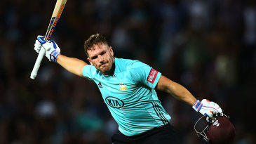 Aaron Finch celebrates another T20 century