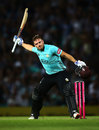 Aaron Finch celebrates another T20 century, Surrey v Middlesex, T20 Blast, South Group, Kia Oval, August 3, 2018