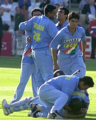 Sourav Ganguly mobs Mohammad Kaif as India steal the most unlikely of wins, England v India, Lord's, July 13, 2002