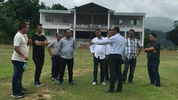 Mizoram officials inspect their home ground in Aizawl