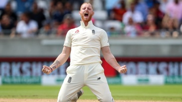 Ben Stokes roars after taking a wicket