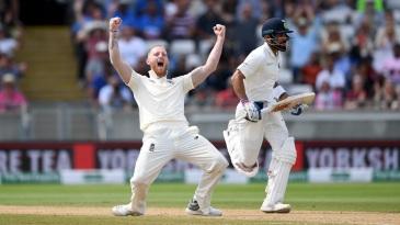Ben Stokes celebrates Virat Kohli's wicket
