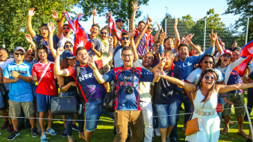 Nepal's traveling fans scream themselves hoarse in victory