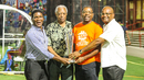Lawrence Rowe, Lance Gibbs, CWI president Dave Cameron and vice-president Emmanuel Nanthan show off the Women's World T20 trophy, West Indies v Bangladesh, 2nd T20I, Lauderhill, August 4, 2018