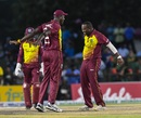 Ashley Nurse and Carlos Brathwaite celebrate a wicket, West Indies v Bangladesh, 2nd T20I, Lauderhill, August 4, 2018