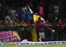 Ashley Nurse leaps to try and grab a catch, West Indies v Bangladesh, 2nd T20I, Lauderhill, August 4, 2018