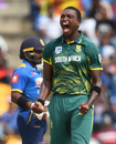 Lungi Ngidi is delighted after picking up an early wicket, Sri Lanka v South Africa, 3rd ODI, Pallekele, August 5, 2018
