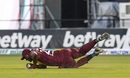 Carlos Brathwaite makes a tumbling save, West Indies v Bangladesh, 3rd T20I, Lauderhill, August 5, 2018
