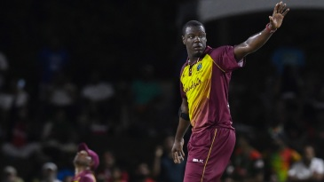 Carlos Brathwaite successfully appeals for a wicket