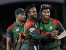 Soumya Sarkar and Shakib Al Hasan celebrate a wicket, West Indies v Bangladesh, 3rd T20I, Lauderhill, August 5, 2018