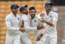 Mohammed Siraj is mobbed by his team-mates, India A v SA A, 1st unofficial Test, Bengaluru, 3rd day, August 6, 2018