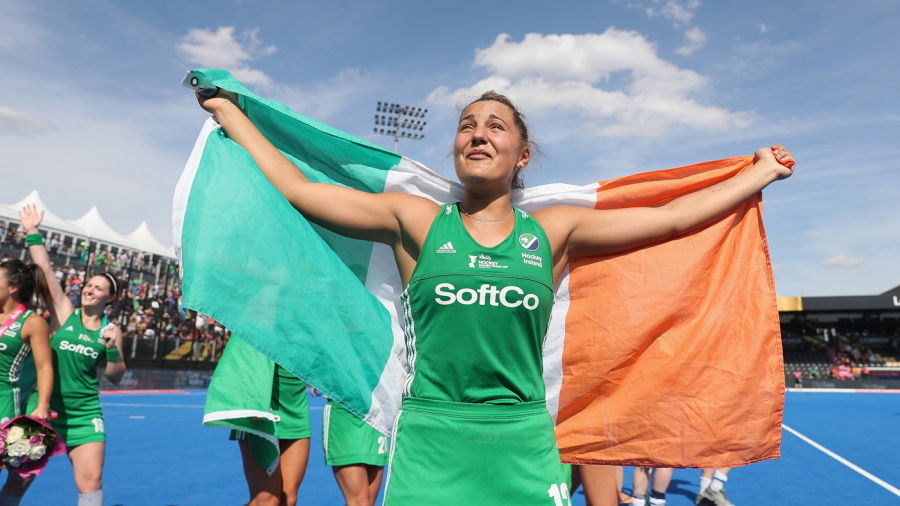 Elena Tice celebrates Ireland's win in the semi-final at the Lee Valley Hockey and Tennis Centre