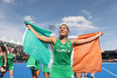 Elena Tice celebrates Ireland's win in the semi-final at the Lee Valley Hockey and Tennis Centre, Ireland v Spain, 2018 Women's Hockey World Cup, London, August 4, 2018