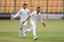 Mohammed Siraj wheels away in celebration, India A v SA A, 1st unofficial Test, Bengaluru, 4th day, August 6, 2018