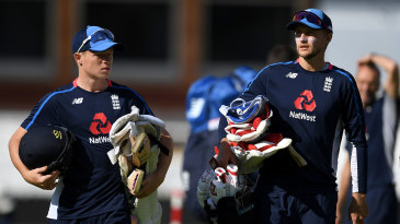 Ollie Pope and Joe Root head to the nets