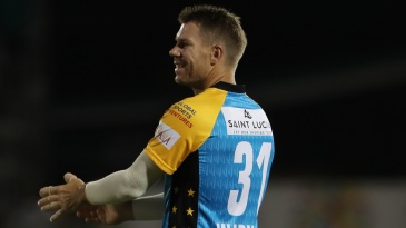 David Warner fields during a CPL game