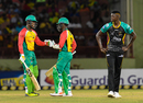 Shimron Hetmyer (left) turned the match Guyana's way in the fifth over of the chase, Guyana Amazon Warriors v St Kitts & Nevis Patriots, CPL 2018, Providence, August 9, 2018