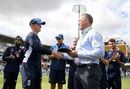 Ollie Pope receives his Test cap from Alec Stewart, England v India, 2nd Test, Lord's, 2nd day, August 10, 2018