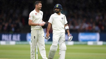 James Anderson and Virat Kohli chat while leaving the field
