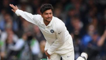 Kuldeep Yadav delivers the ball