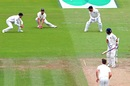 Ajinkya Rahane watches his edge fall short of Alastair Cook, England v India, 2nd Test, Lord's, August 12, 2018, Day 4