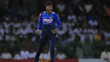Akila Dananjaya lets out a roar
