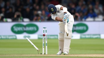 Cheteshwar Pujara's defences were breached in spectacular fashion