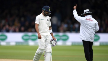 Virat Kohli batted with a bad back and fell cheaply