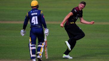Jamie Overton celebrates the wicket of Colin Ingram