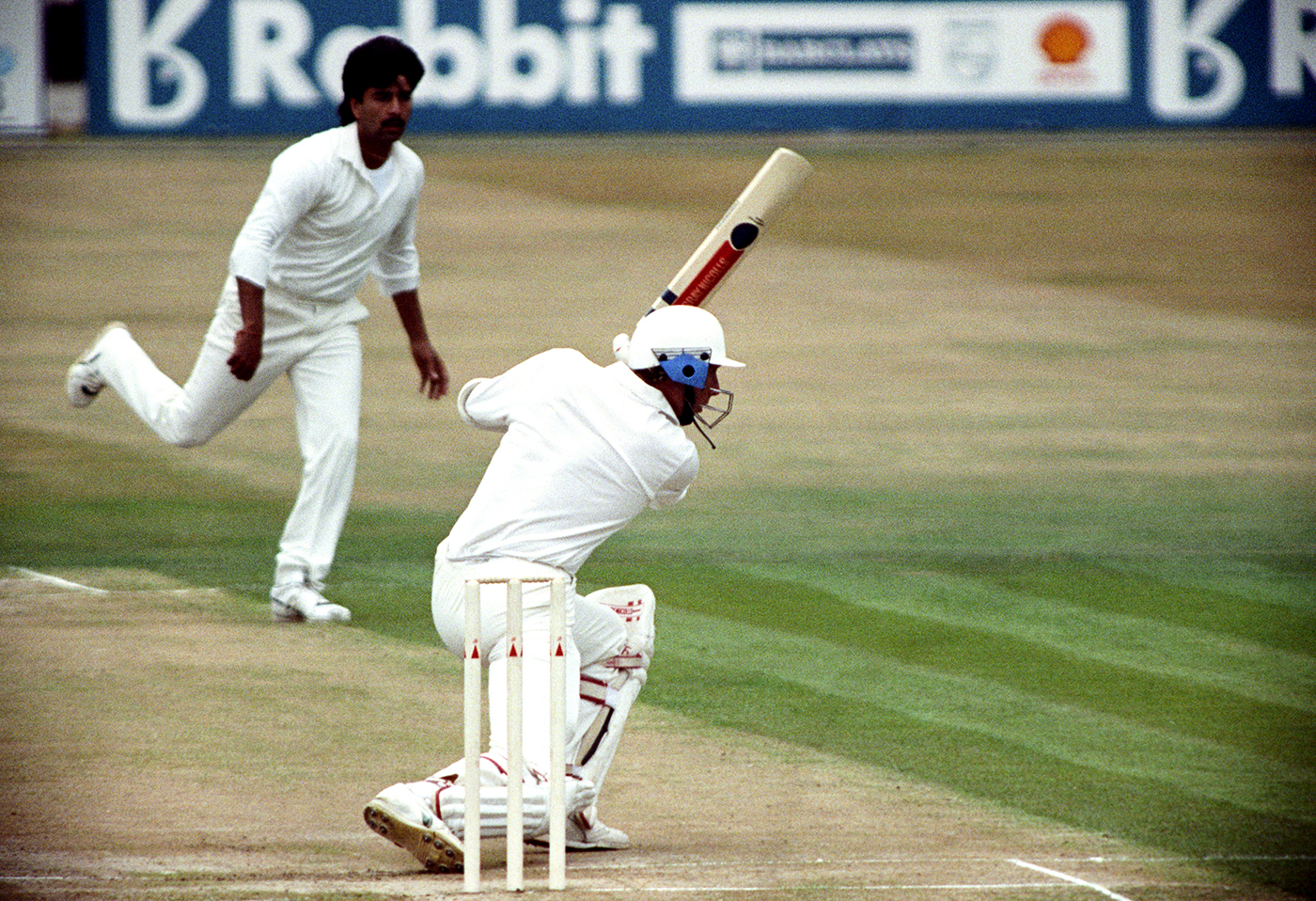 Mike Atherton hits a four off Manoj Prabhakar