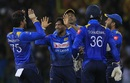 Akila Dananjaya celebrates Reeza Hendricks' wicket, Sri Lanka v South Africa, Only T20I, Colombo, August 14, 2018