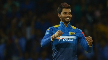 Dhananjaya de Silva reacts after dismissing JP Duminy