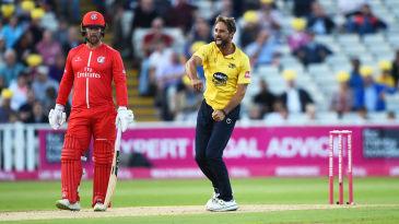Grant Elliott celebrates a wicket