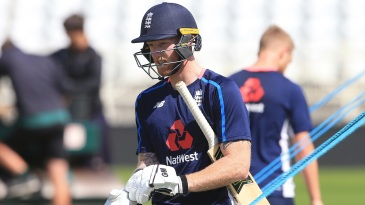Ben Stokes went through his batting drills at Trent Bridge