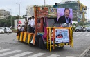 A truck carrying the body of Ajit Wadekar makes its way to a crematorium in Mumbai, August 17, 2018