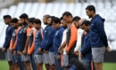 Members of the Indian team on tour in England observe a minute's silence in memory of Ajit Wadekar before their training session, August 16, 2018