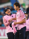 Eoin Morgan finds something to laugh about on another grim Middlesex night, Sussex v Middlesex, Vitality Blast, South Group, Hove