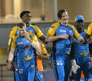 David Warner, Obed McCoy, Andre Fletcher and Mitchell McClenaghan celebrate a win, Stars v Tridents, CPL 2018, St Lucia, August 17, 2018