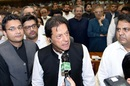 Newly appointed Pakistan Prime Minister Imran Khan addresses lawmakers, August 17, 2018