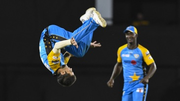 Qais Ahmed does a reverse somersault
