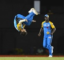 Qais Ahmed does a reverse somersault, Stars v Tridents, CPL 2018, St Lucia, August 17, 2018
