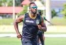Andre Russell goes through his warm-up sprints during team training, Lauderhill, August 17, 2018