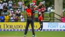 Ali Khan celebrates after dismissing Andre Russell, Jamaica Tallawahs v Trinbago Knight Riders, CPL 2018, Lauderhill, August 19, 2018