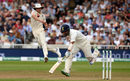 Cheteshwar Pujara completes a run as Stuart Broad fires in a throw, England v India, 3rd Test, Trent Bridge, 3rd day, August 20, 2018