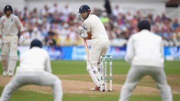 Alastair Cook watches as his outside edge is about to be pouched