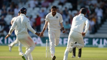 Jasprit Bumrah races to greet his teammates after tearing through England's middle order