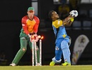 Lendl Simmons is bowled on the sweep, St Lucia Stars v Guyana Amazon Warriors, CPL 2018, Gros Islet, August 24, 2018