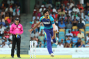 Mohammad Irfan in his follow through, Barbados Tridents v St Kitts and Nevis Patriots, CPL 2018, August 25, 2018, Bridgetown